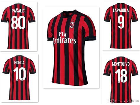 Jersey Milan cheap new 2017 2018 ac milan jersey 17 18 home jerseys bacca suso abate honda