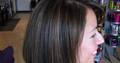hairstyles to help grow out a bib dark rich brown hair color with caramel highlights