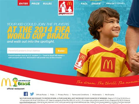 Mcdonald Sweepstakes - mcdonald s player escort 2014 fifa world cup brazil sweepstakes