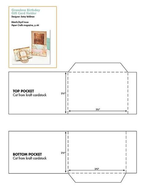 printable money holder card template free gift card holder pattern patterns for