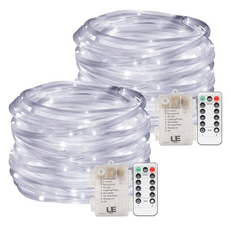 33ft led dimmable rope lights with 8 modes timer pack of