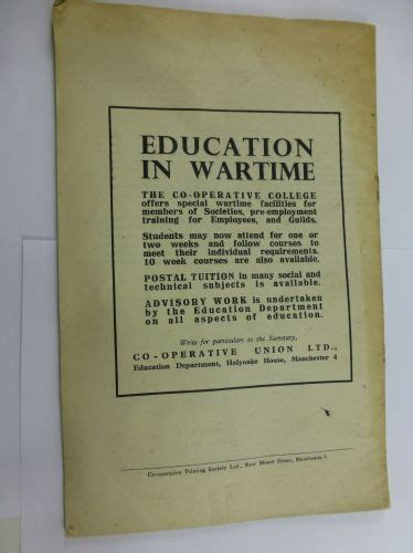 Education After Mba Operations by 1943 Phlet Co Operation Education After War