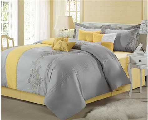 yellow and grey bedding fel7 chic home harbor 8 pc embroidered comforter set