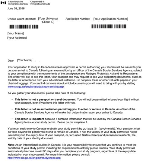 Introduction Letter Canada About Initial Study Permits Student Services