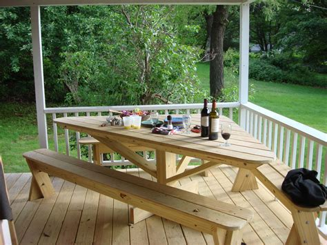built in table and bench like this only with square table with bench built into deck and chairs instead of
