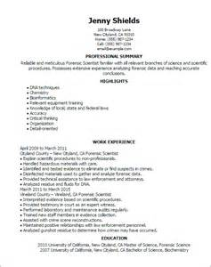Forensic Engineer Sle Resume by Professional Forensic Scientist Templates To Showcase Your Talent Myperfectresume