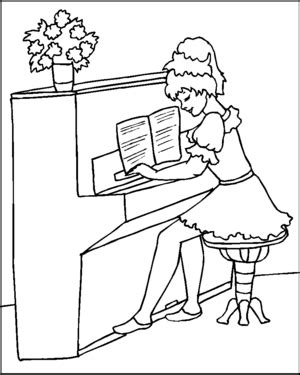 coloring page girl playing piano pianist girl coloring page