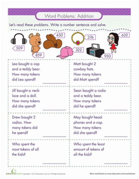 2nd Grade Common Math Word Problems Worksheets by Word Problems Addition Worksheet Education
