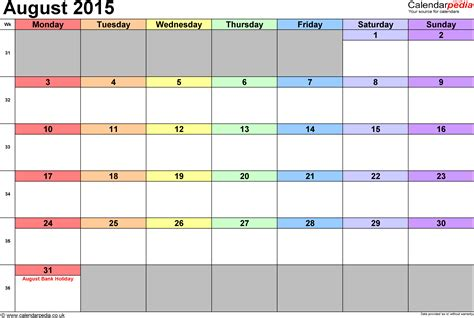 Aug Calendar 2015 Calendar August 2015 Uk Bank Holidays Excel Pdf Word