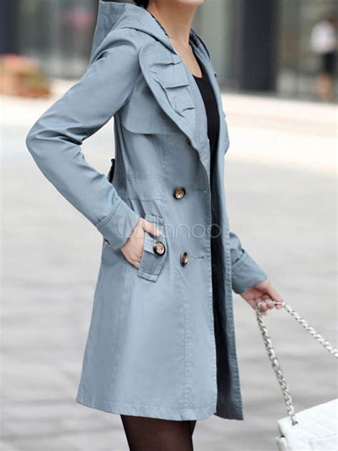 Hooded Buttoned Trench Coat buttoned hooded trench coat milanoo