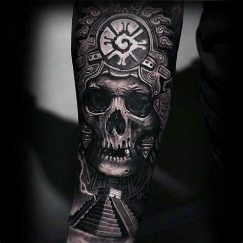 aztec skull tattoo 80 mayan tattoos for masculine design ideas