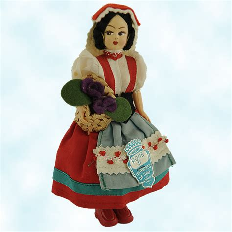 treasure  italy tyrolean doll florence italian souvenir red head covering vintage