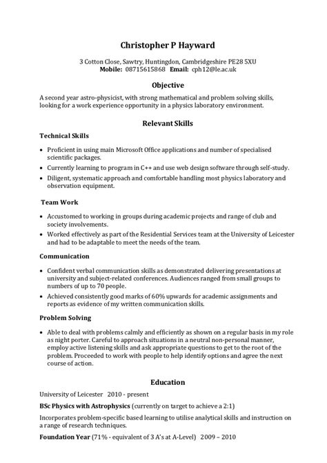 exles of skills in a resume exle skills based cv
