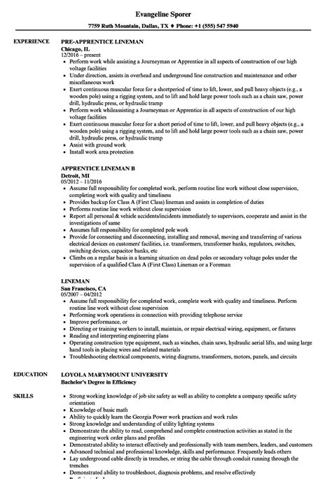 Lineman Resume by Lineman Resume Sles Velvet
