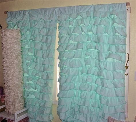 turquoise ruffle curtains 2 aqua blue turquoise teal waterfall ruffled curtains