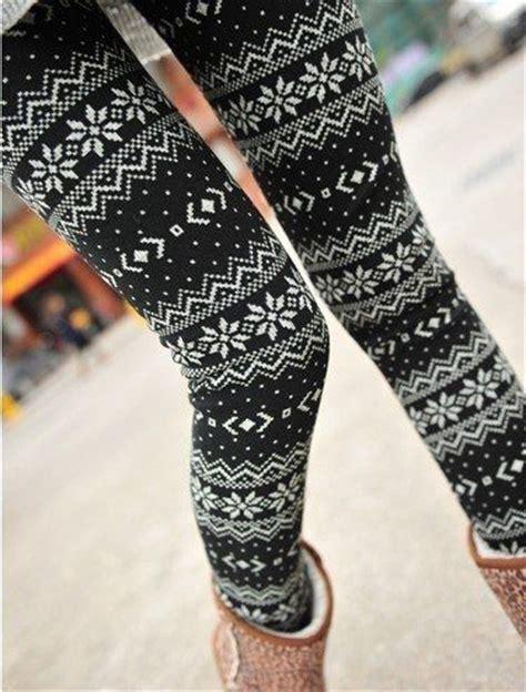 pattern leggings ideas maybe women s snow snowflake footless pantyhose legging