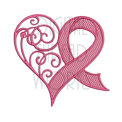 Awareness Heart Ribbon Embroidery Design For 4x4 5x7 And Cancer Ribbon Designs 2