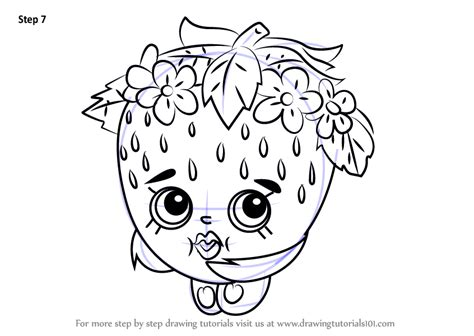 strawberry puppy kisses learn how to draw strawberry from shopkins shopkins step by step drawing