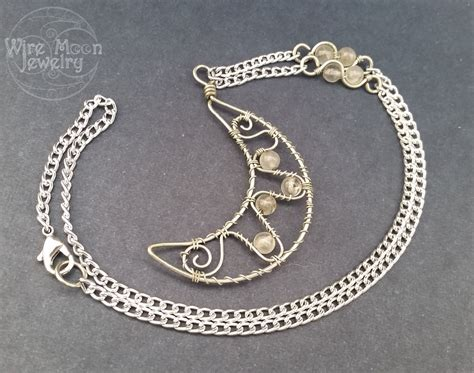 Handmade Wire Necklaces - handmade wire wrapped crescent moon necklace by