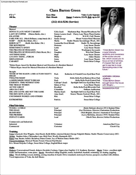 resume template for actors resume templates for actors free sles exles