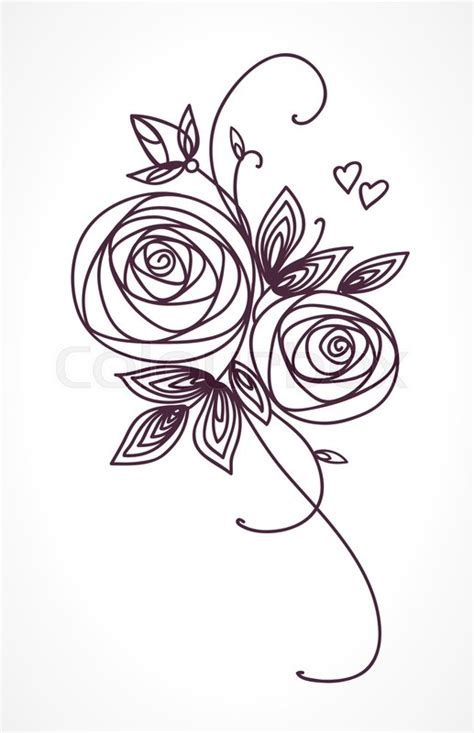 roses stylized flower bouquet hand drawing outline icon