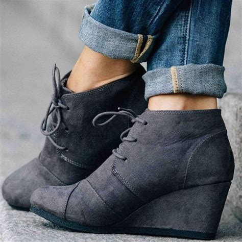 Wedges Boots Zliper Blue Grey grey toe wedge heel ankle boots grey