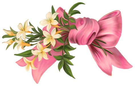flower design with ribbon flowers and ribbon transparent png stickpng