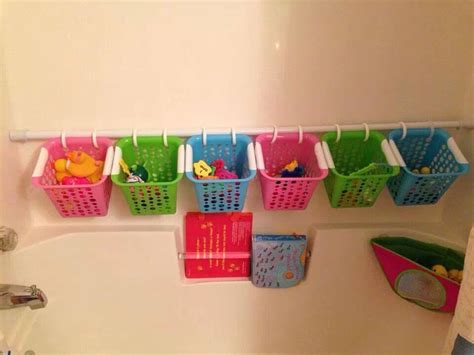 Bathroom Toy Storage Ideas | great idea for bathtub toy storage kiddlets pinterest