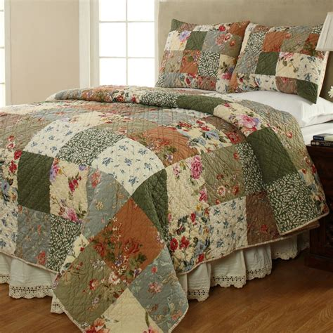 Quilted Bedding by Cotton Patchwork Quilt Set Bedding