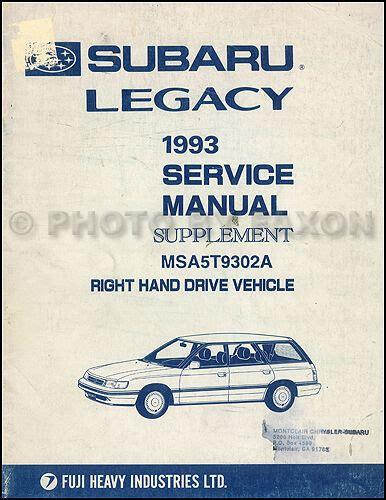 manual repair autos 1995 subaru legacy electronic valve timing 1993 subaru legacy right hand drive shop manual supplement rhd repair service ebay
