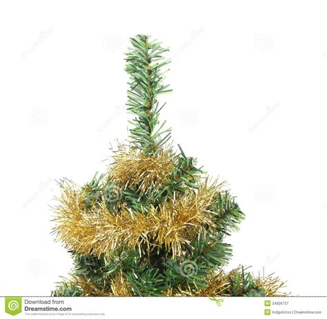 top of christmas tree decorated with garland stock image