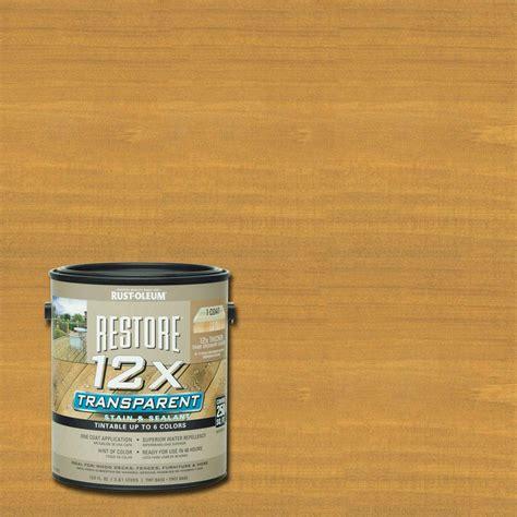 rust oleum restore  gallon  transparent golden pine