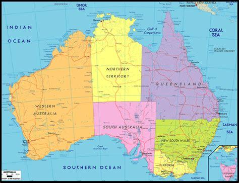 australia map of australian political map outline