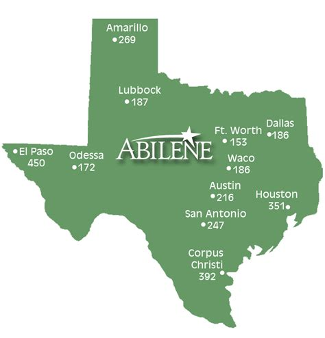 texas mileage map abilene transportation