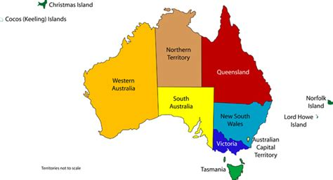 map of australia with territories australian state and territory flags
