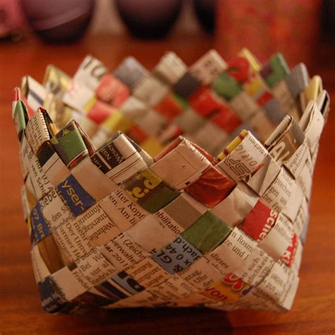 How To Make Paper Basket For - recycling ideas weaving basket with newspaper make