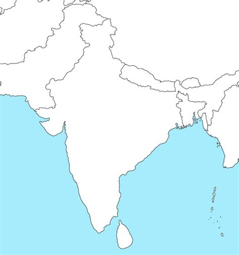 India Physical Map Outline A4 Size by Blank Map Of India And Pakistan By Xhgtx On Deviantart