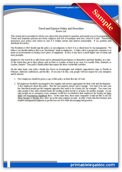 travel and expense policy template free printable travel and expense policy and procedure