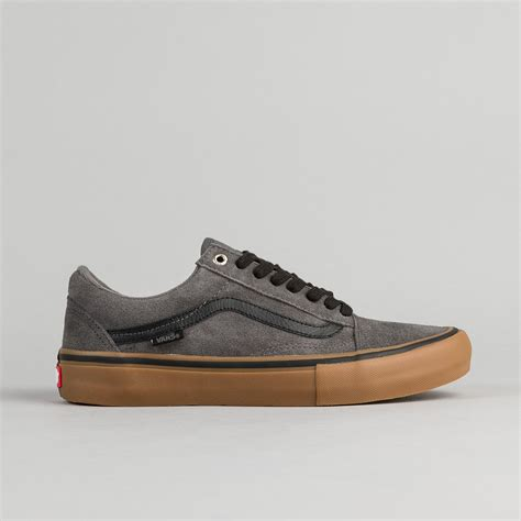 vans skool pro shoes grey black gum flatspot