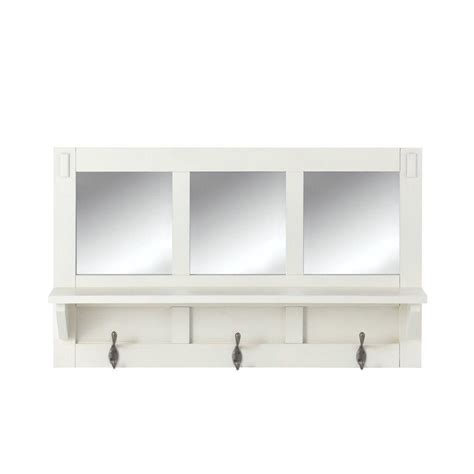 bookcase with mirror home decorators collection artisan 18 in h 3 hook mdf wall shelf with mirror in white