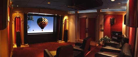 traditional burgundy gold home theater