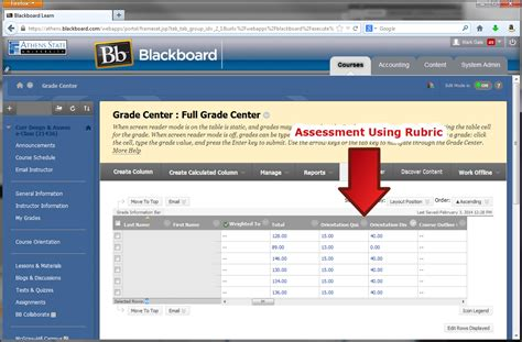 blackboard learn retrieving the qep rubric results