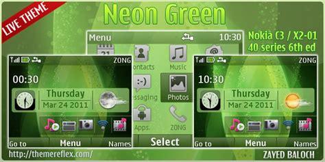 nokia c3 themes green neon green live theme for nokia c3 x2 01 themereflex