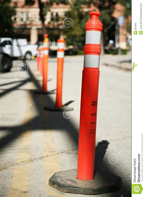 row  safety poles stock image image