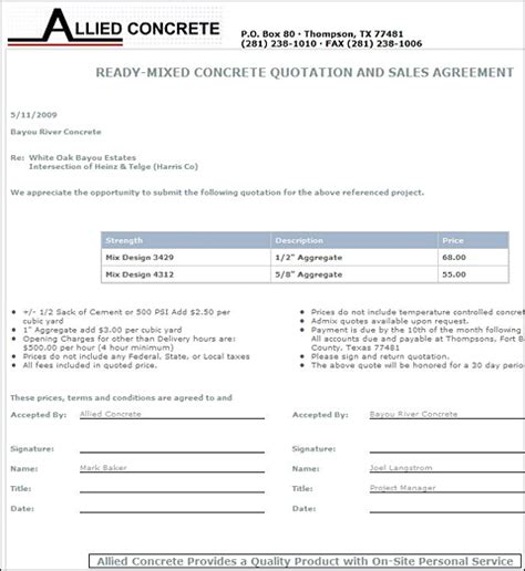 quotation page layout iron speed profile bids application allied concrete