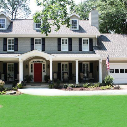 houses painted gray grey exterior paint white trim dark navy shutters and a