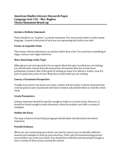 Thesis Example For A Research Paper Thesis Statement Builder For Research Paper