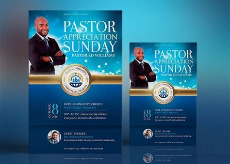 Blue Pastor Appreciation Flyer Poster Template   GraphicMule