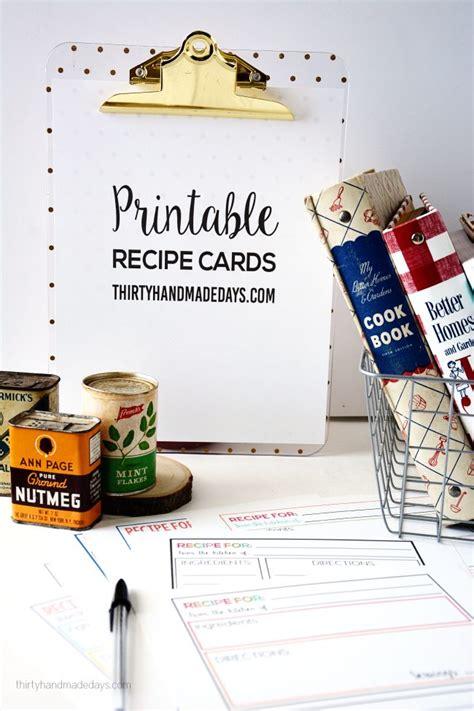 30 Handmade Days - printable recipe cards thirty handmade days