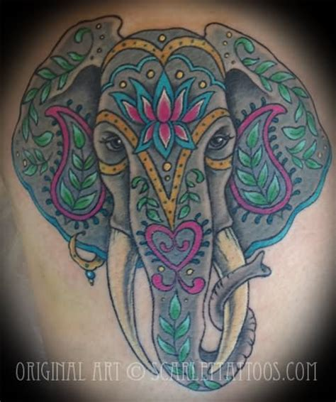 colorful elephant tattoo on shoulder colorful elephant tattoo designs